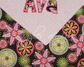 Personalized Children's Blanket - Cotton and Minky Blanket - YOU DESIGN - Baby Girls Pink Floral Blanket - Personalized Kids Blanket