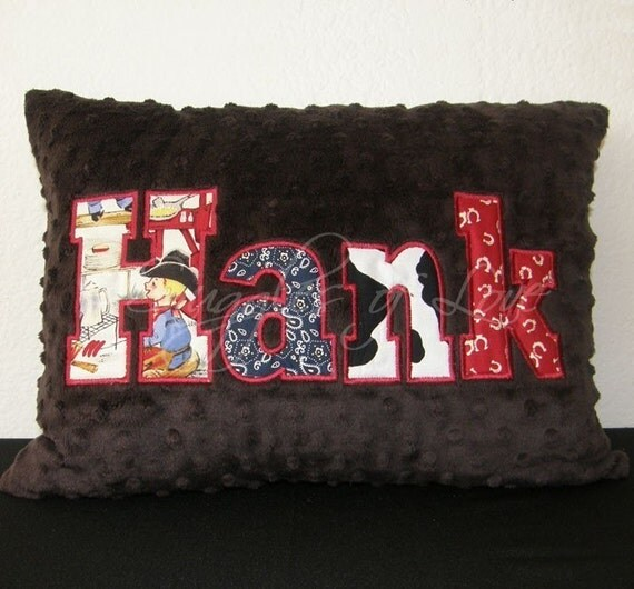 Cowboy Pillow - Western Pillow - PERSONALIZED Minky Pillow - Appliqued with YOUR NAME in Western Fabrics - Custom Made