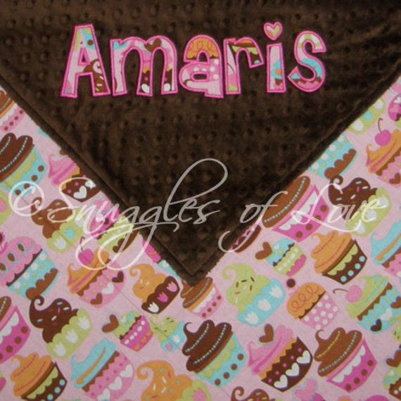 Cupcake Blanket - PERSONALIZED - Cotton and Minky Blanket - Includes Appliqued Name - Personalized Girls Pink Cupcake Blanket