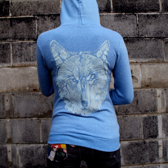 Blue Wolf Zip Hoodie NOTE: this item now on a slightly darker blue