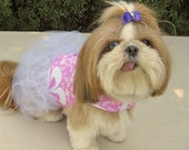 Dog Dress Harness Pink Flowers White Tulle