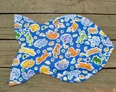 Cat Mat, fish shaped, Cats Playing Blue
