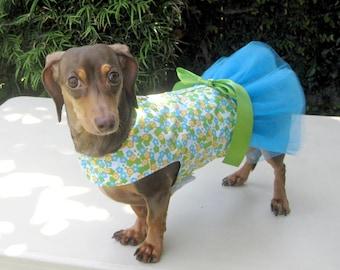 Handmade Dog Harness Dress Flowers Blue Tutu