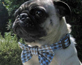 Dog Bow Tie Collar Blue Brown Herringbone