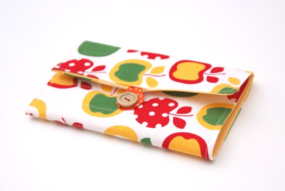 Cozy Crochet Hook Organizer, Yellow Red Apples