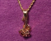 14K pink and yellow gold rose pendant