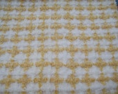 Gold Fluffy Plaid Vintage Chenille Fabric