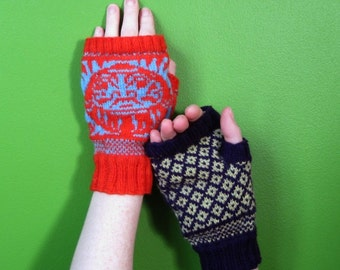 PDF knitting pattern-  Fair Isle Daruma FIngerless Mits