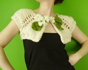 PDF knitting pattern- shrug with felted ume blossom detail
