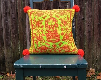 PDF Knitting Pattern-Folkloric Matryoshka Pillow