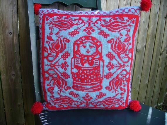 PDF Knitting Pattern-Folkloric Matryoshka Pillow