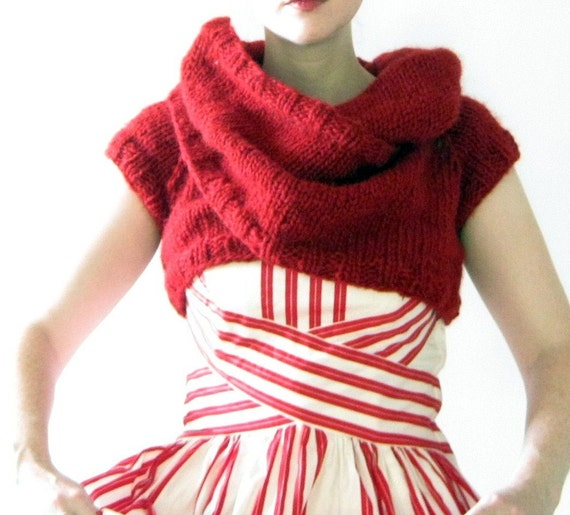 Hand Knit Convertible  Funnel Cloud Shrug