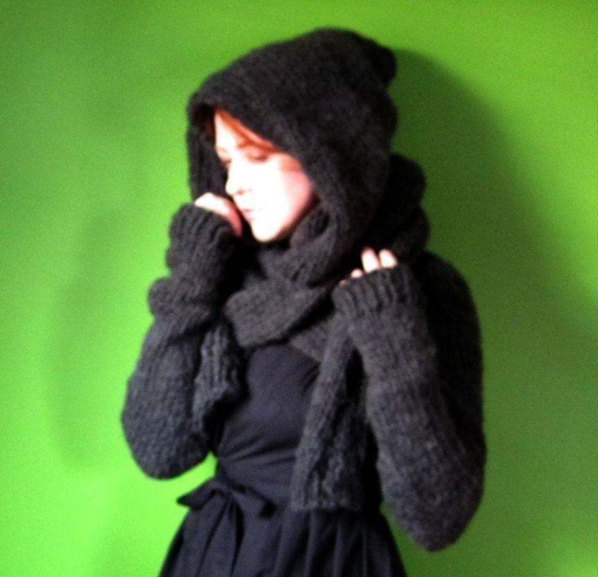 Knitting Pattern For Shrug With Hood : PDF knitting pattern Minx Hooded Shrug