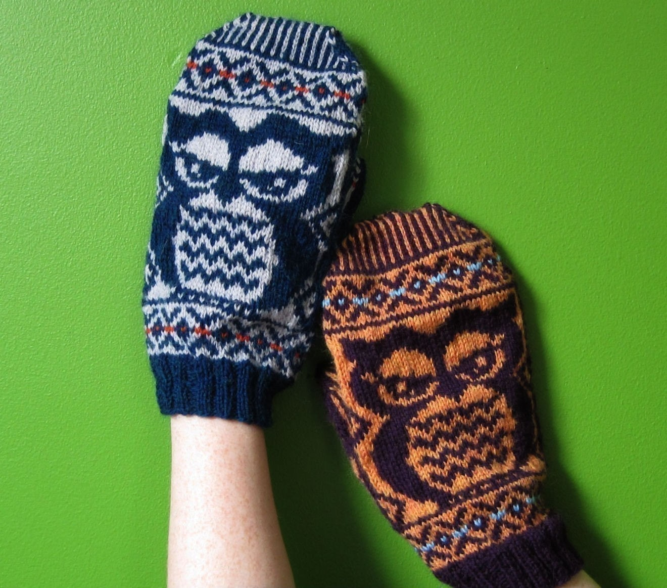 PDF knitting pattern Fair Isle Owlie Mittens
