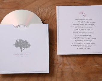 "Personalized  cd sleeve wedding favor "" All Stitched up' ANY COLOR {pack of 180}"