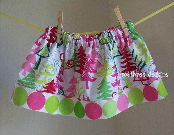 Michael Miller Christmas Yule trees skirt size 6m-4t