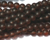 8mm Frosted Glass Round Beads Dark Brown Chocolate 20