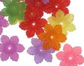 20 Acrylic 6 Petal Flower Beads Mixed Colours