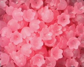 30 Frosted Acrylic Tulip Bell Flower Beads - Pink  - 10mm