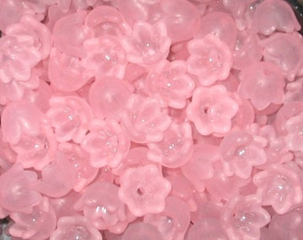 30 Frosted Acrylic Tulip Bell Flower Beads - Light Pink - 10mm