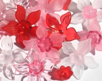 Acrylic Flower Beads Lucite Flower Beads - 20 Frosted Daffodil Strawberry Shortcake - 27mm