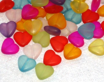 25  Frosted Acrylic Heart Beads 12mm Fun Mix