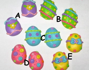 2 Polymer Clay Easter Egg Bead or Bow Center - Made to Order