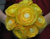JILLIANNS BRIGHT YELLOW SATIN, TULLE, AND BEADS BOUQUET