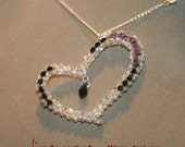 Heart Pendant handmade with Swarovski Crystal - Made in Italy with chain 18in Sterling Silver