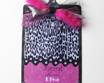 Altered Decorated Clipboard Diva Leopard and Hot Pink 2 sided