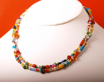 Extra long necklace of African Christmas beads