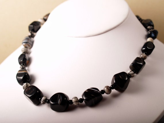 S A L E  chunky black lace agate necklace with Picasso marble and onyx