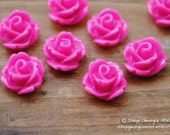 Parade Rose Flower Cabochon Pink Fuchsia 10pcs