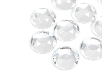 Jewel Cabochon Round Crystal Clear Semi Facet 13mm
