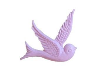Bird Cabochon Purple Vintage Dove Style 4pcs