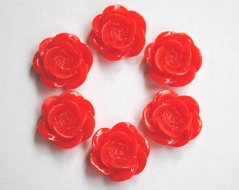 Round Rose Flower Cabochon Red 6pcs