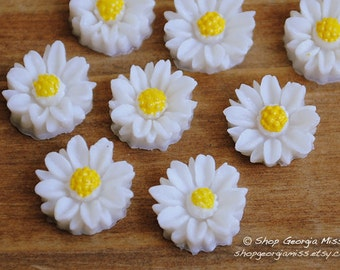 White Daisy Flower Cabochons 8pcs