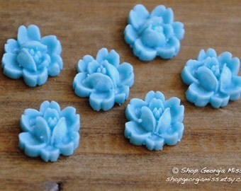 Blue Flower Cabochons 9mm 6pcs