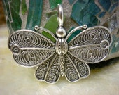 Ornate Butterfly Silver Pendant Charm