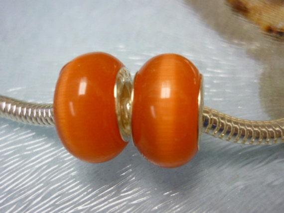Yummy Melon Cats' Eye Pandora style Beads