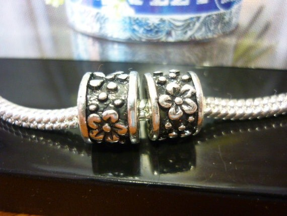 Ornate Silver Spacer Beads 2 pandora Style