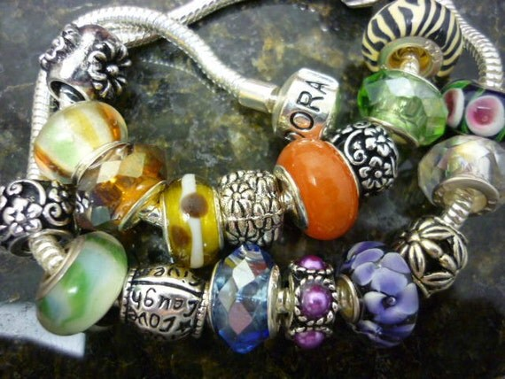 SALE Grab BAG Pandora Style Beads 5 Beads Murano glass beads Crystal beads Spacer silver beads