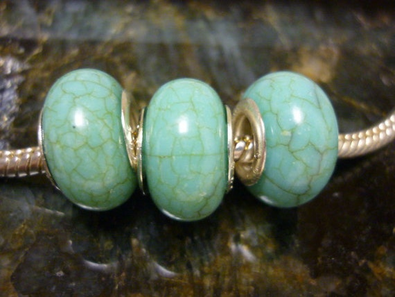 Howlite turquoise Pandora style Beads 2