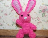 Pink Rabbit  Miniature Thread Artist Crochet Easter Bunny  Ready to Ship