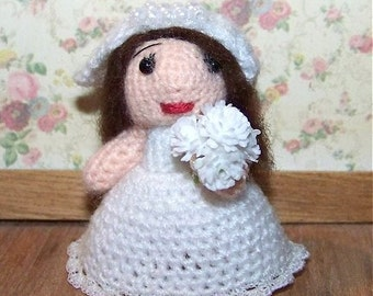 Bride Miniature Thread Artist Crochet Doll  Ready to Ship