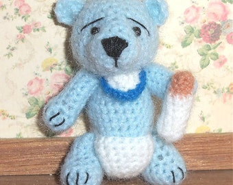 Blue Baby Bear Miniature Thread Artist Crochet  Ready to Ship