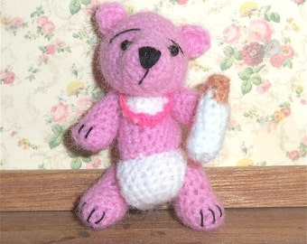 Pink  Baby Bear Miniature Thread Artist Crochet  Ready to Ship