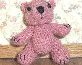Miniature Teddy Bear  Mauve Thread Artist Crochet  Ready to Ship