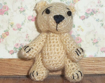 Miniature Teddy Bear Tan Thread Artist Crochet  Ready to Ship