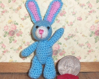 Blue Easter Bunny Rabbit  Miniature Thread Artist Crochet   Ready to Ship